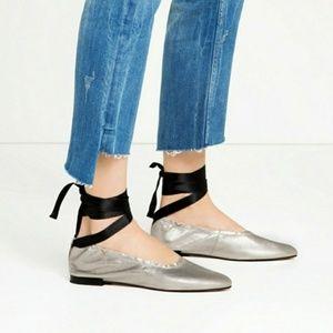 ZARA Silver Leather Ankle Wrap Ballet Flats 8